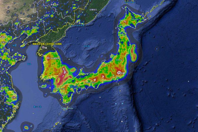 日本の光害マップ